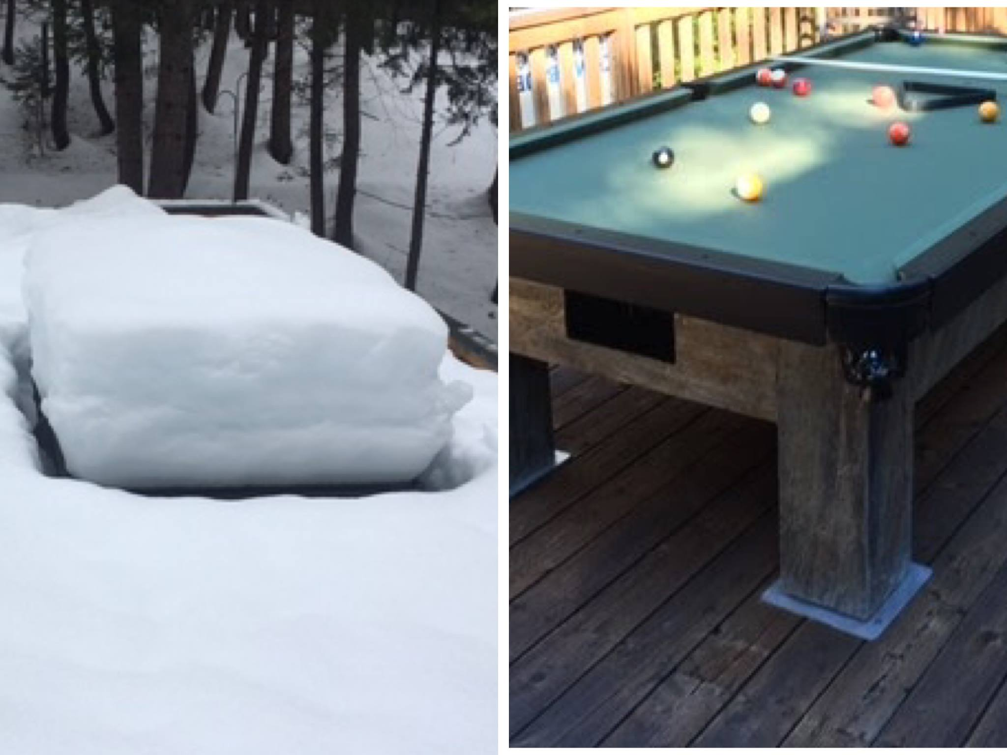 Artisan custom outdoor pool table with snow versus without snow showing how our tables withstand the elements