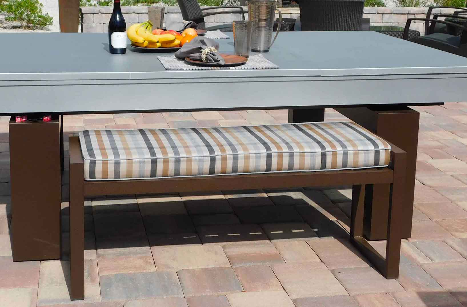 All weather, outdoor seating bench for custom pool and game tables by R&R Outdoors All Weather Billiards