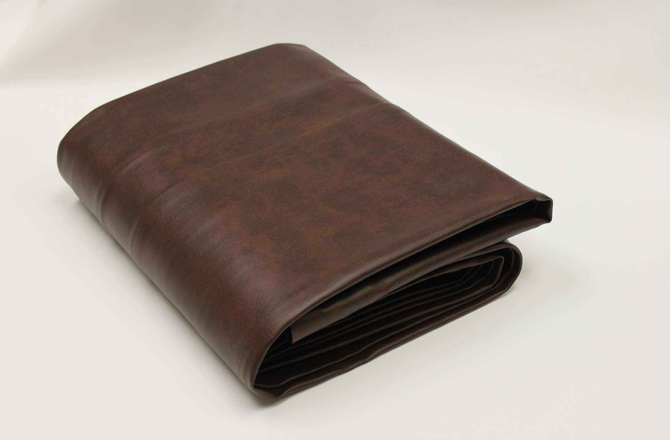 Brown, leather-like vinyl custom outdoor pool table cover from R&R Outdoors All Weather Billiards