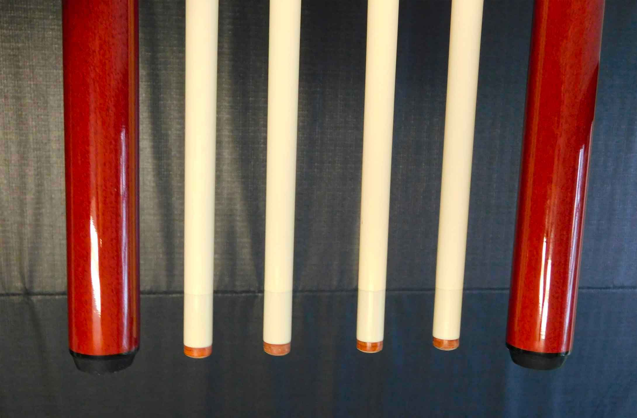 Top and bottoms of R&R Outdoors All Weather Billiards cue sticks