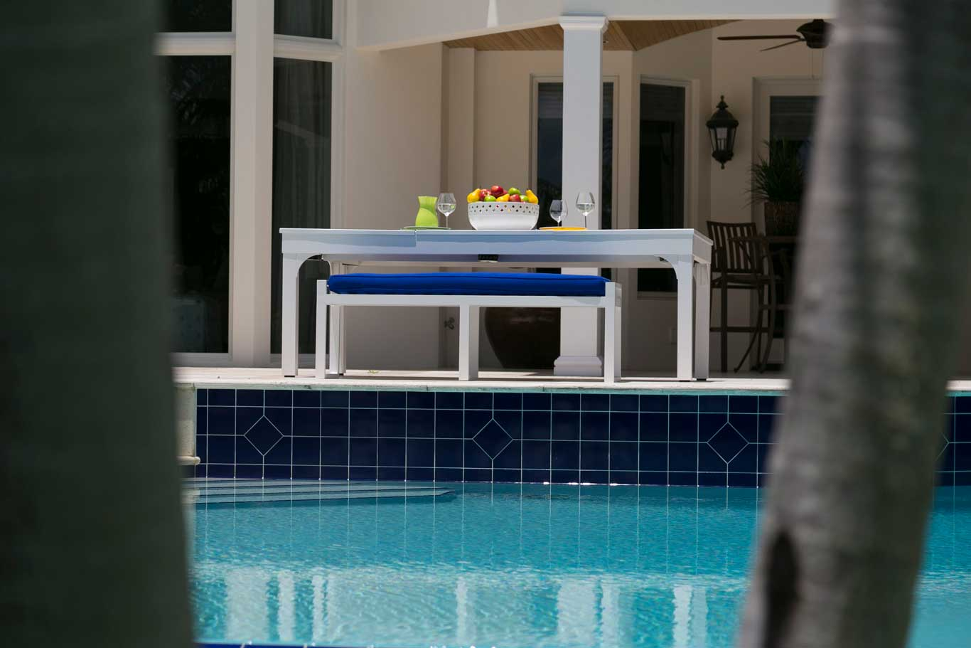Blue and white Balcony outdoor pool table with hard-top dining coversion