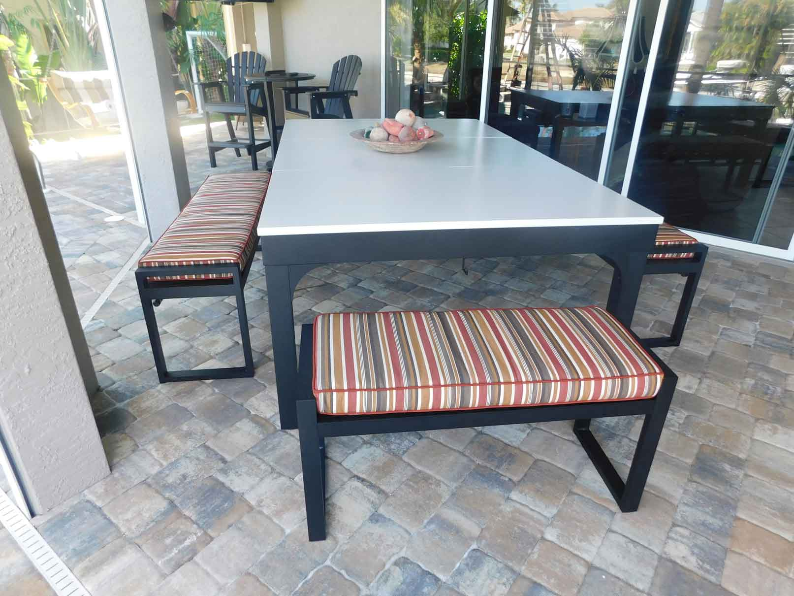 Balcony outdoor pool table and dining conversion top turns your table into an entertaining space