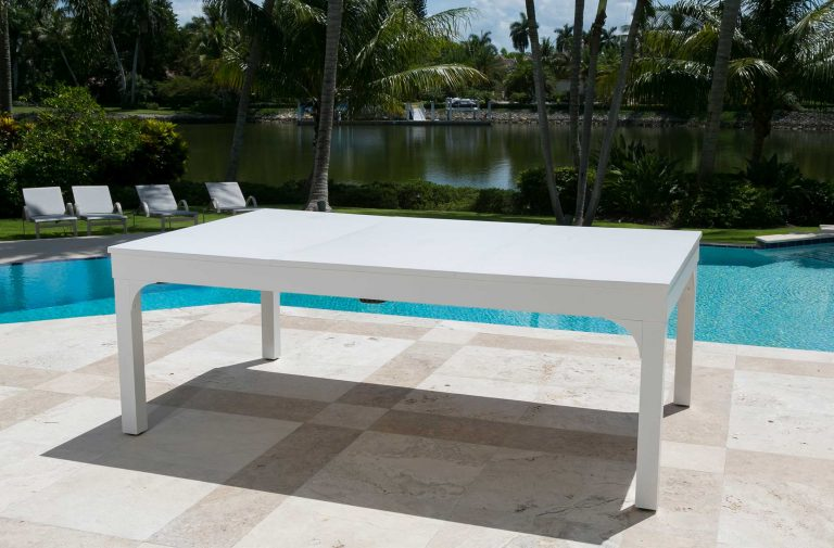 Balcony custom outdoor pool table with dining top conversion