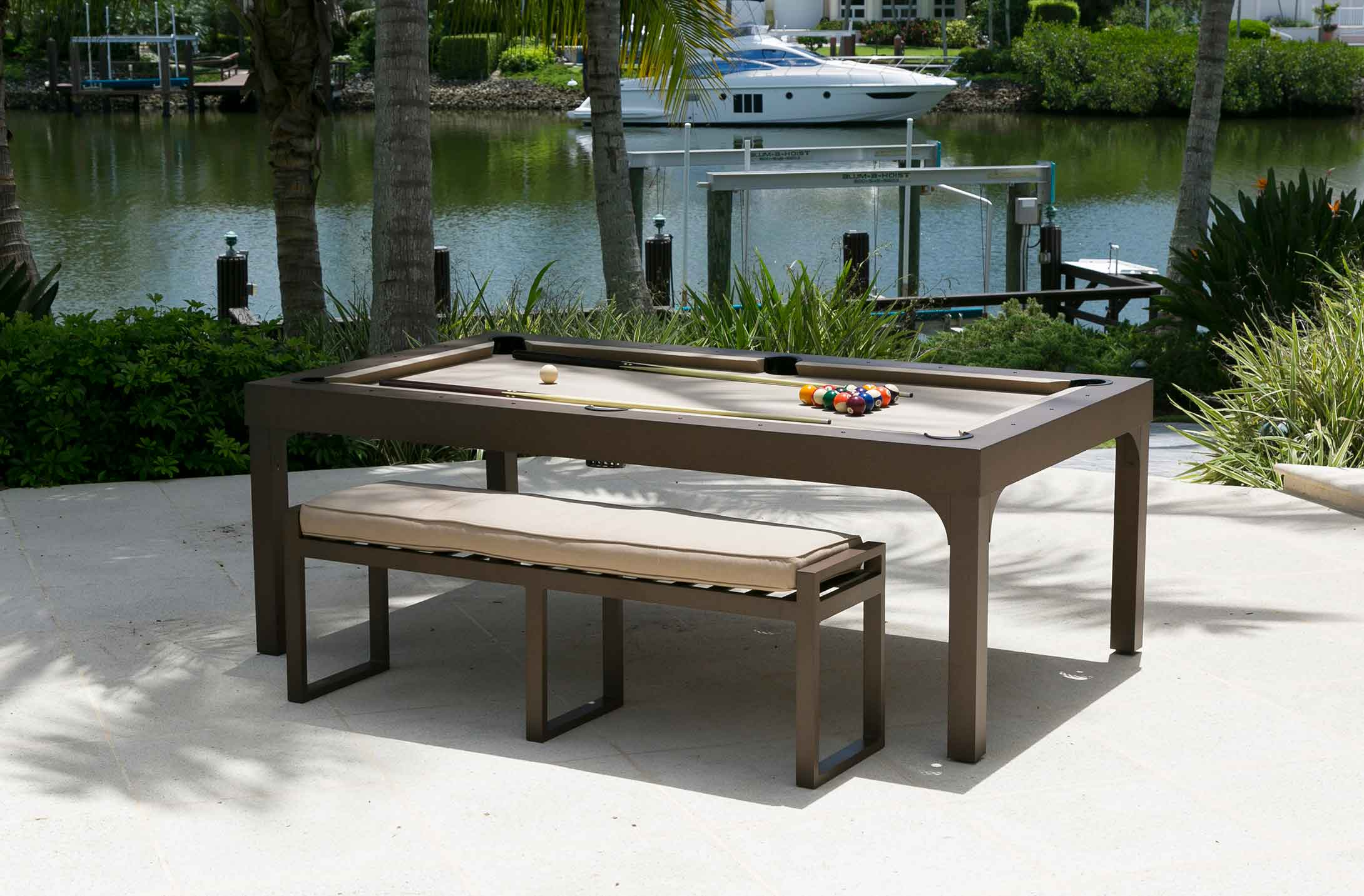 Brown and Beige Balcony outdoor pool table with custom all weather bench for seating