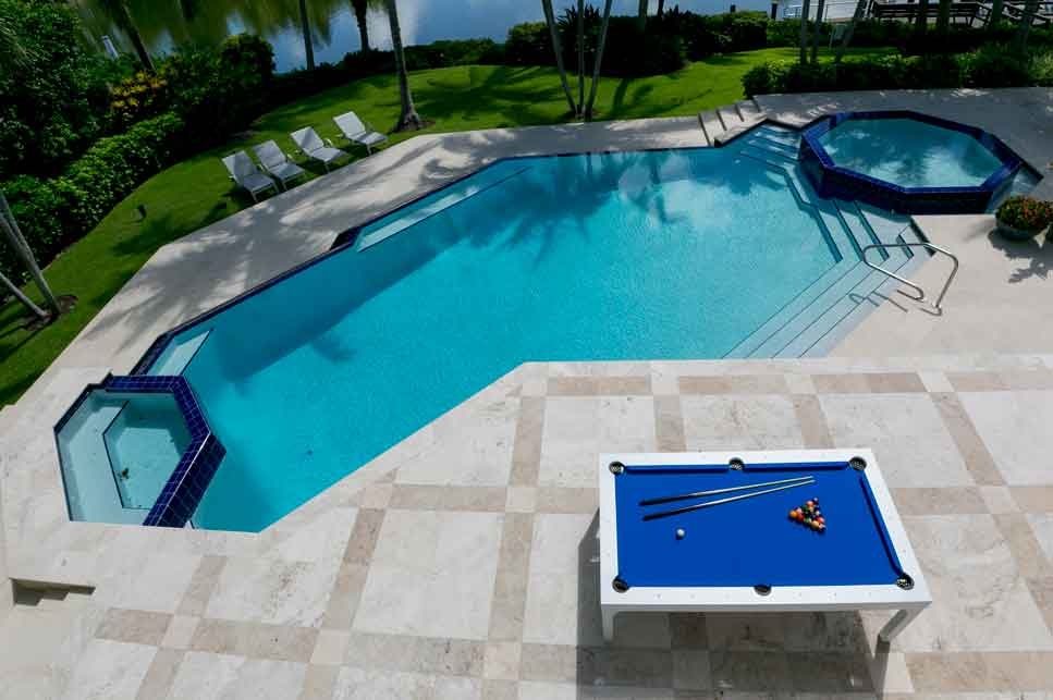 Balcony Outdoor Pool Table Pool Side in Southwest Florida Home by R&R Outdoors, Inc. All Weather Billiards