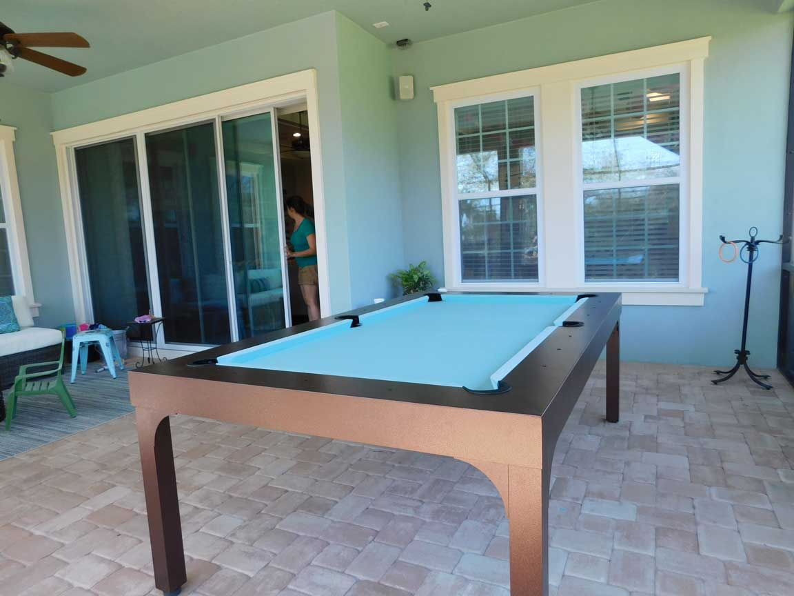 Balcony Outdoor Pool Table from R&R Outdoors, Inc. All Weather Billiards