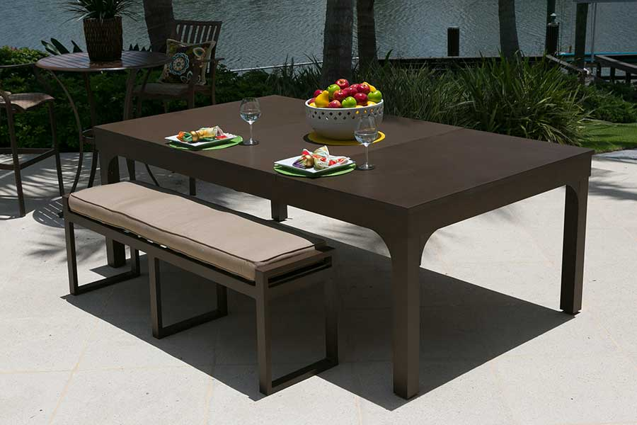 Brown Balcony custom outdoor pool table with dining top conversion and all weather bench seating
