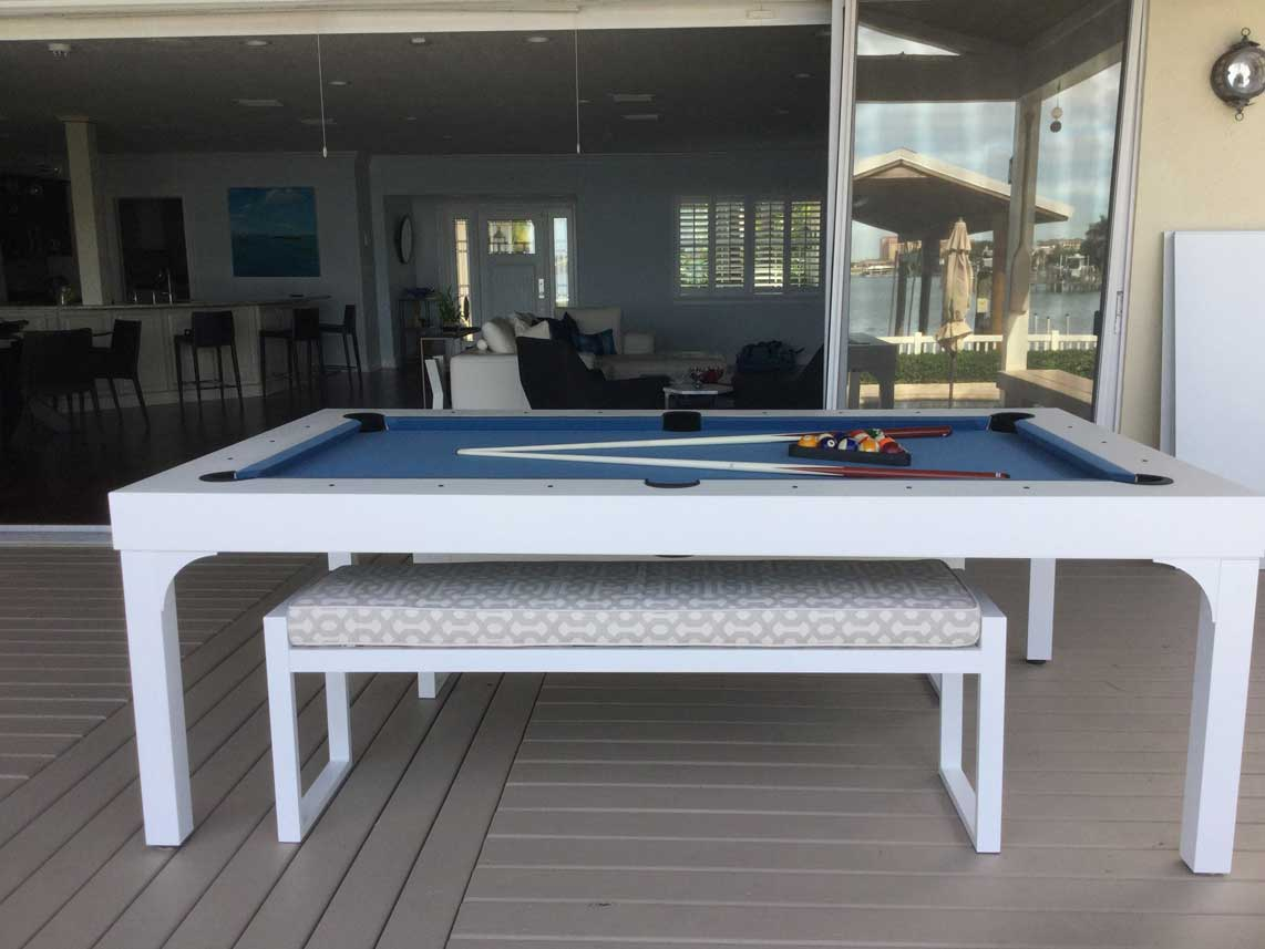 Custom Balcony outdoor pool table by R&R Outdoors, Inc. All Weather Billiards