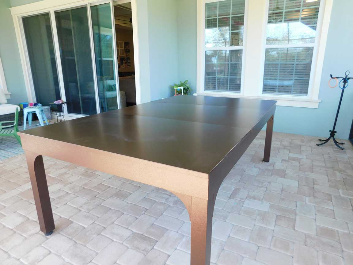 Balcony Outdoor Pool Table with Dining Conversion Top from R&R Outdoors, Inc. All Weather Billiards