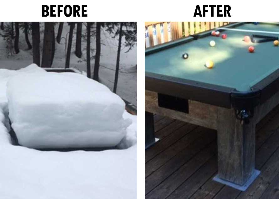 Before and After a Pool Table in the Snow | R&R Outdoors