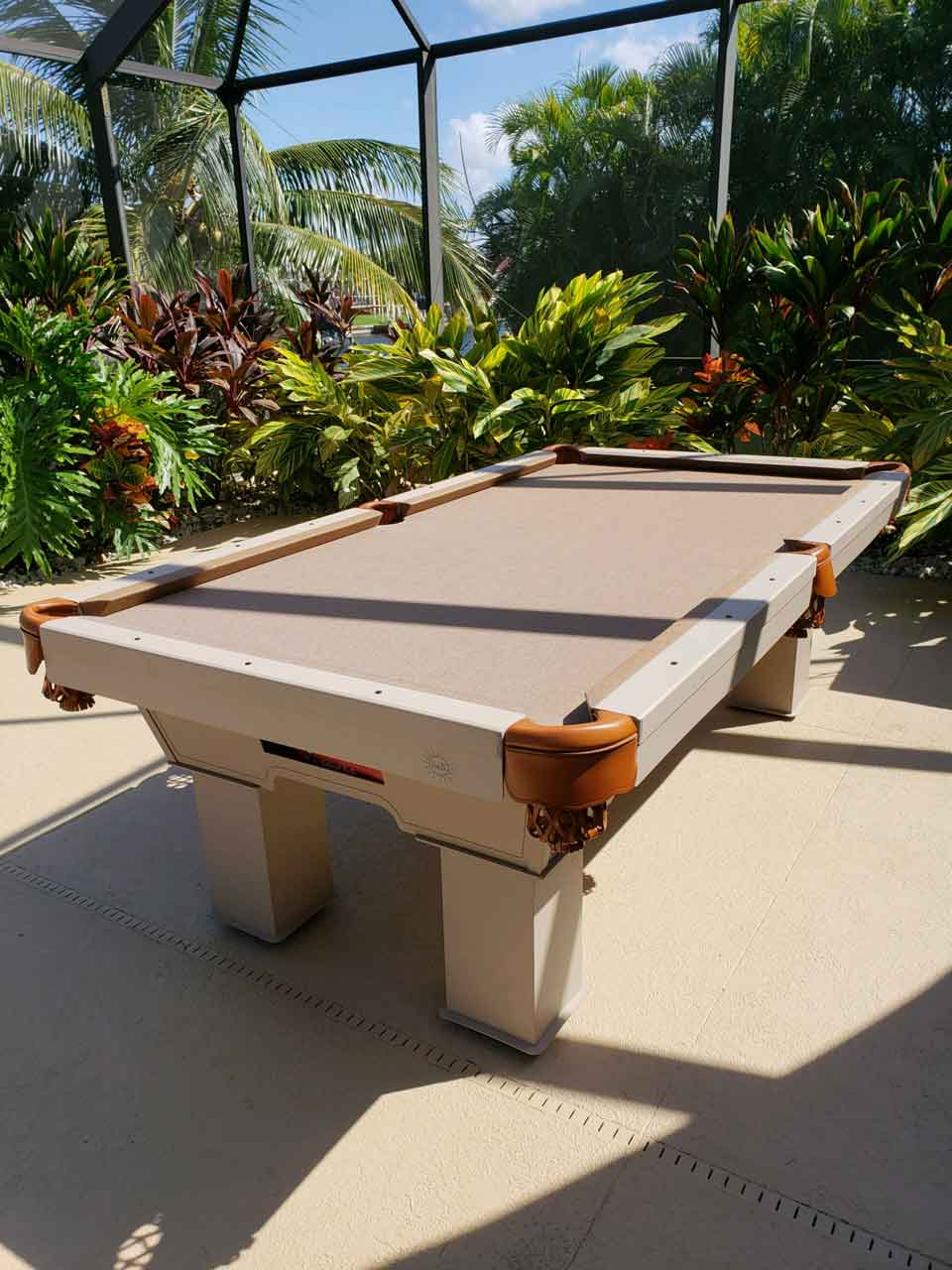 Beige & Brown Caesar Custom Outdoor Pool Table in Client's Southwest Florida Lanai from R&R Outdoors, Inc. All Weather Billiards