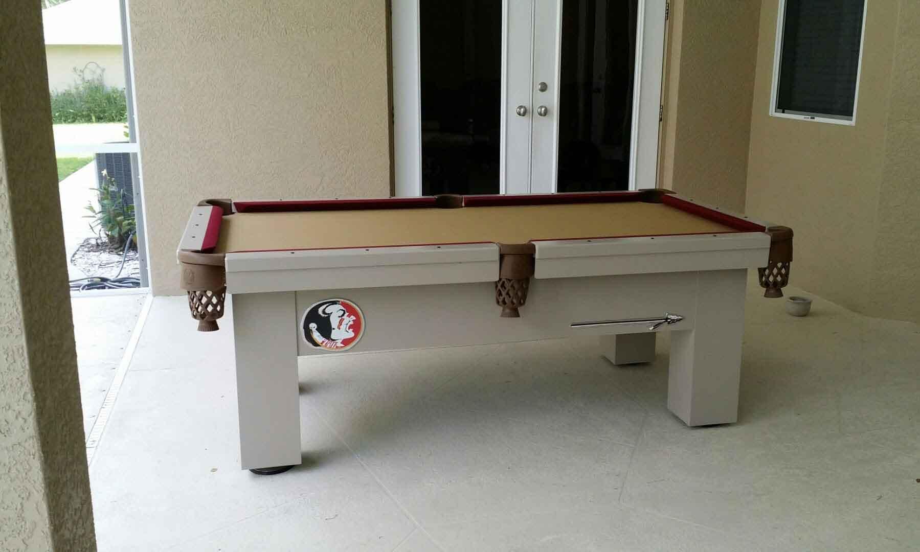 Florida State Seminoles embellished custom outdoor pool table