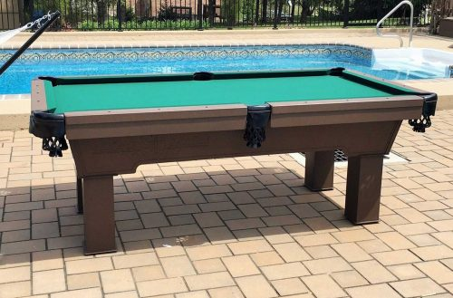 Caesar outdoor pool table in client's backyard
