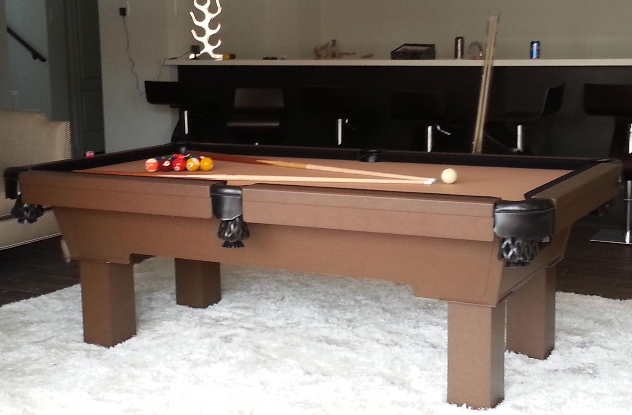 Caesar custom outdoor pool table in client's home
