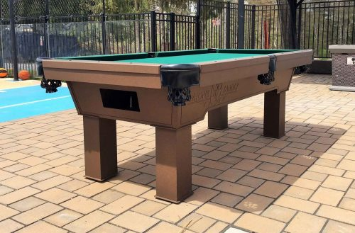 Custom all weather pool table with engraved logo from R&R Outdoors All Weather Billiards