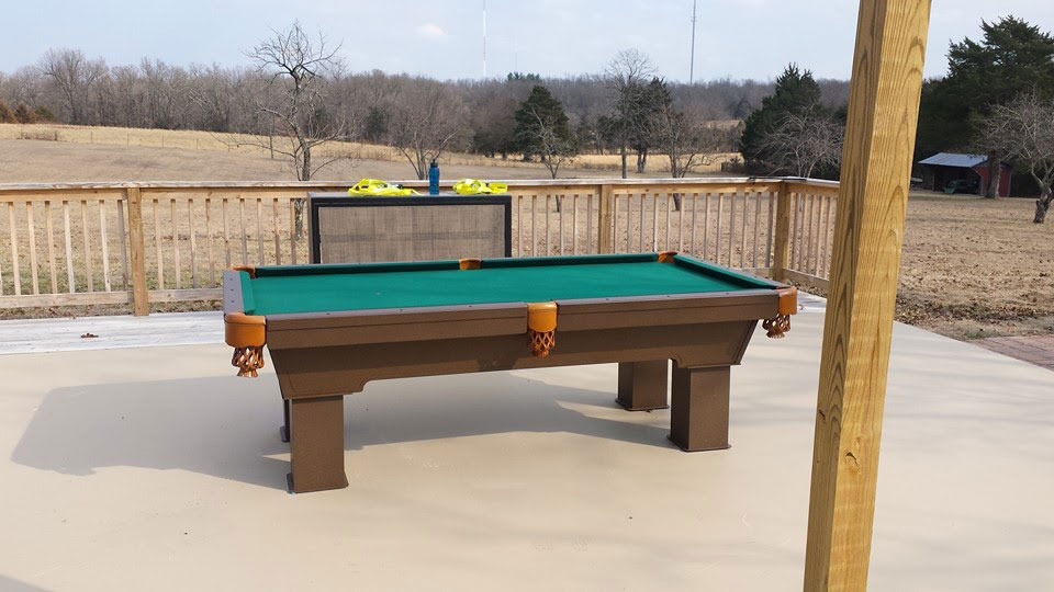 Caesar Custom Outdoor Pool Table in Client's Outdoor Entertaining Space during the Fall