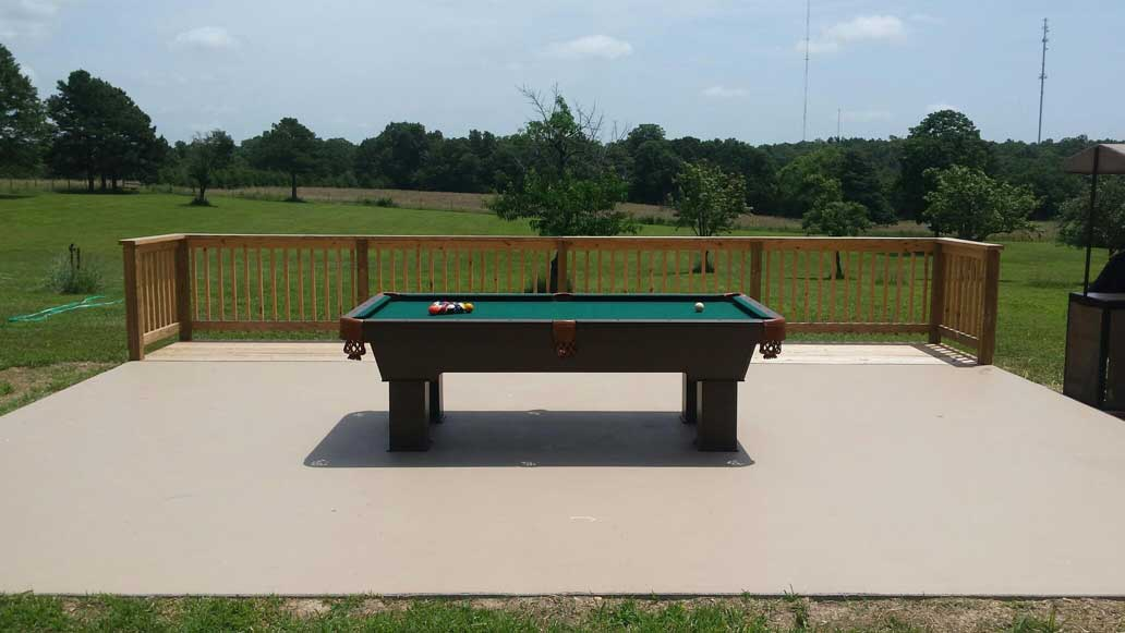 Caesar Custom Outdoor Pool Table in Client's Outdoor Entertaining Space