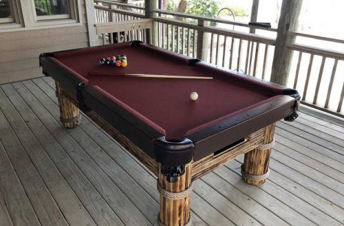R&R Outdoors' Caribbean Outdoor Pool Table in Natural Finish - All Weather Billiards and Games