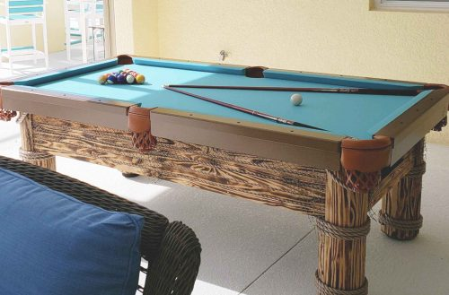 Caribbean custom outdoor pool table in Southwest Florida with custom wood staining | R&R Outdoors All Weather Billiards