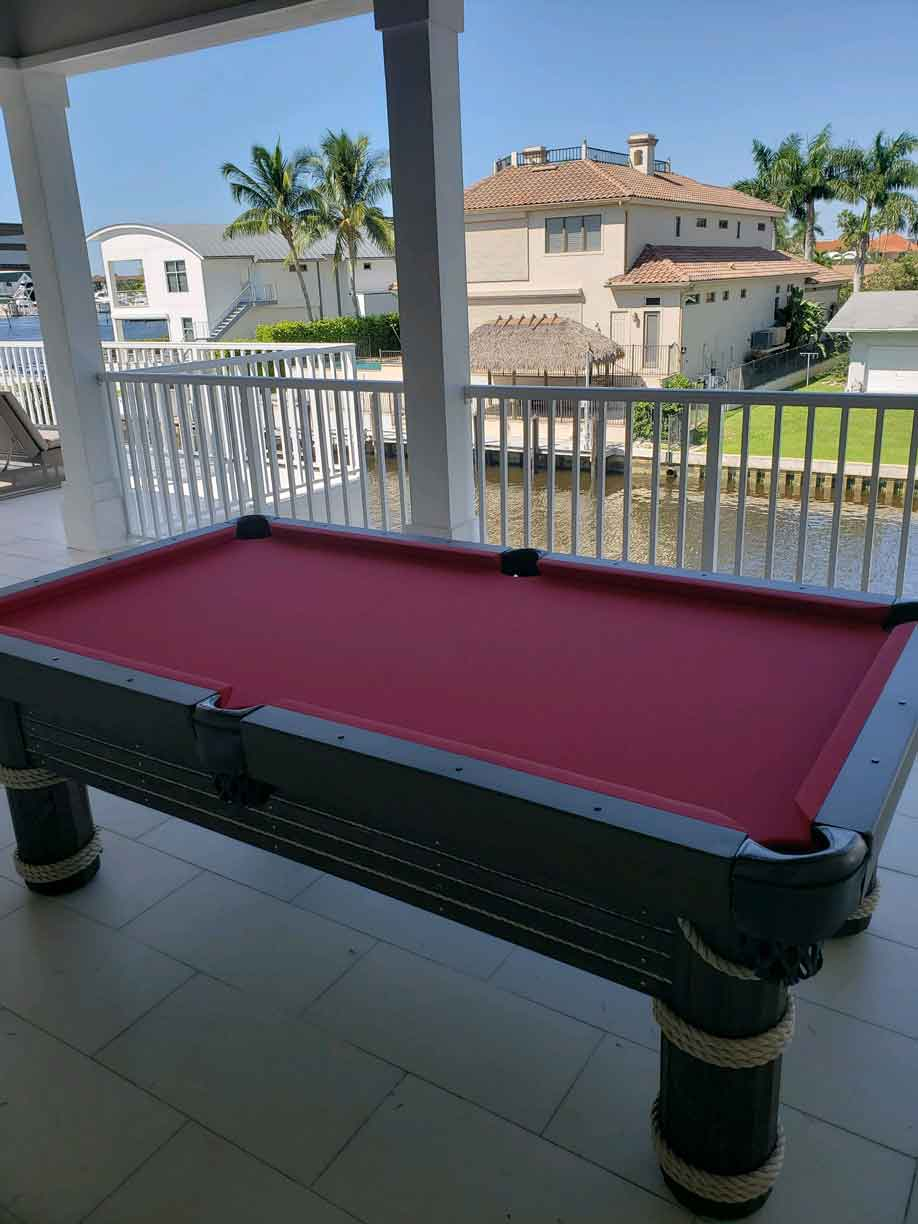 Caribbean Outdoor Pool Table on Southwest Florida Lanai from R&R Outdoors, Inc. All Weather Billiards