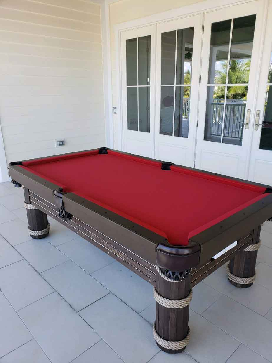 Caribbean Outdoor Pool Table with Dark Wood and Red Playing Surface from R&R Outdoors, Inc. All Weather Billiards