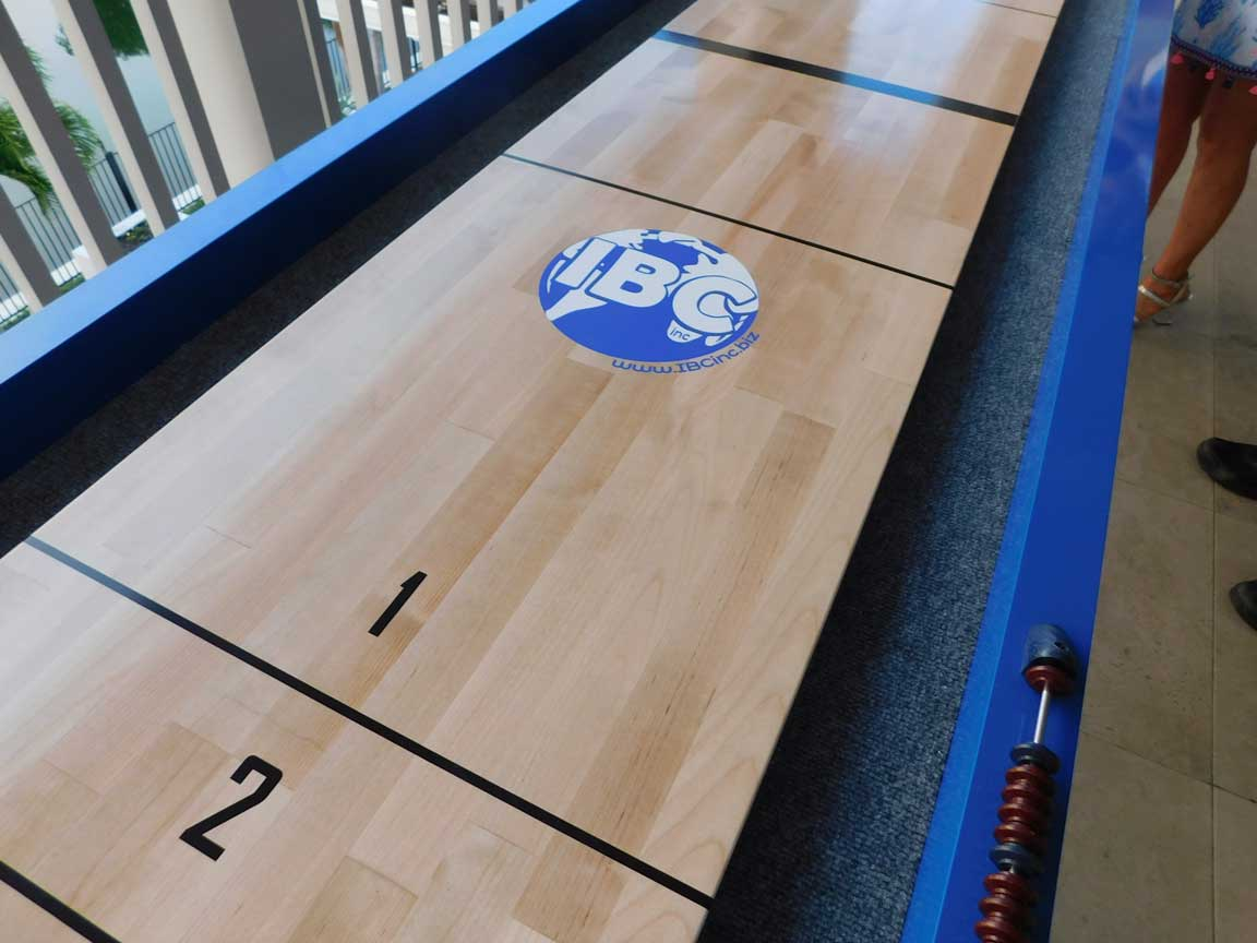 Close up of Outdoor Shuffleboard Table by R&R Outdoors with Custom Client Logo