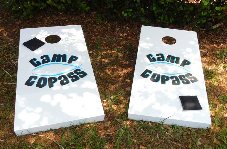 Camp Copass custom, outdoor corn hole set from R&R Outdoors All Weather Billiards