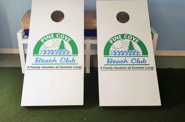 Pine Cove Beach Club custom outdoor corn hole set