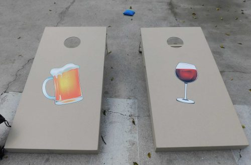 Custom beer and wine cornhole set from R&R Outdoors All Weather Billiards