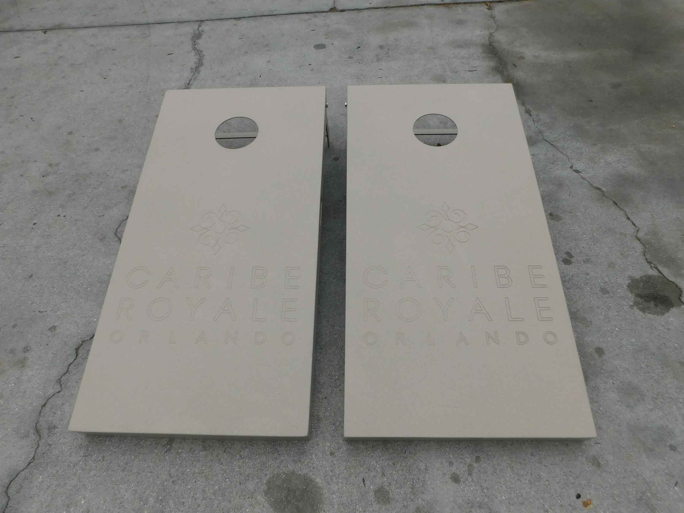 Caribe Royale Hotel in Orlando, Florida's custom, engraved cornhole set made by R&R Outdoors All Weather Billiards