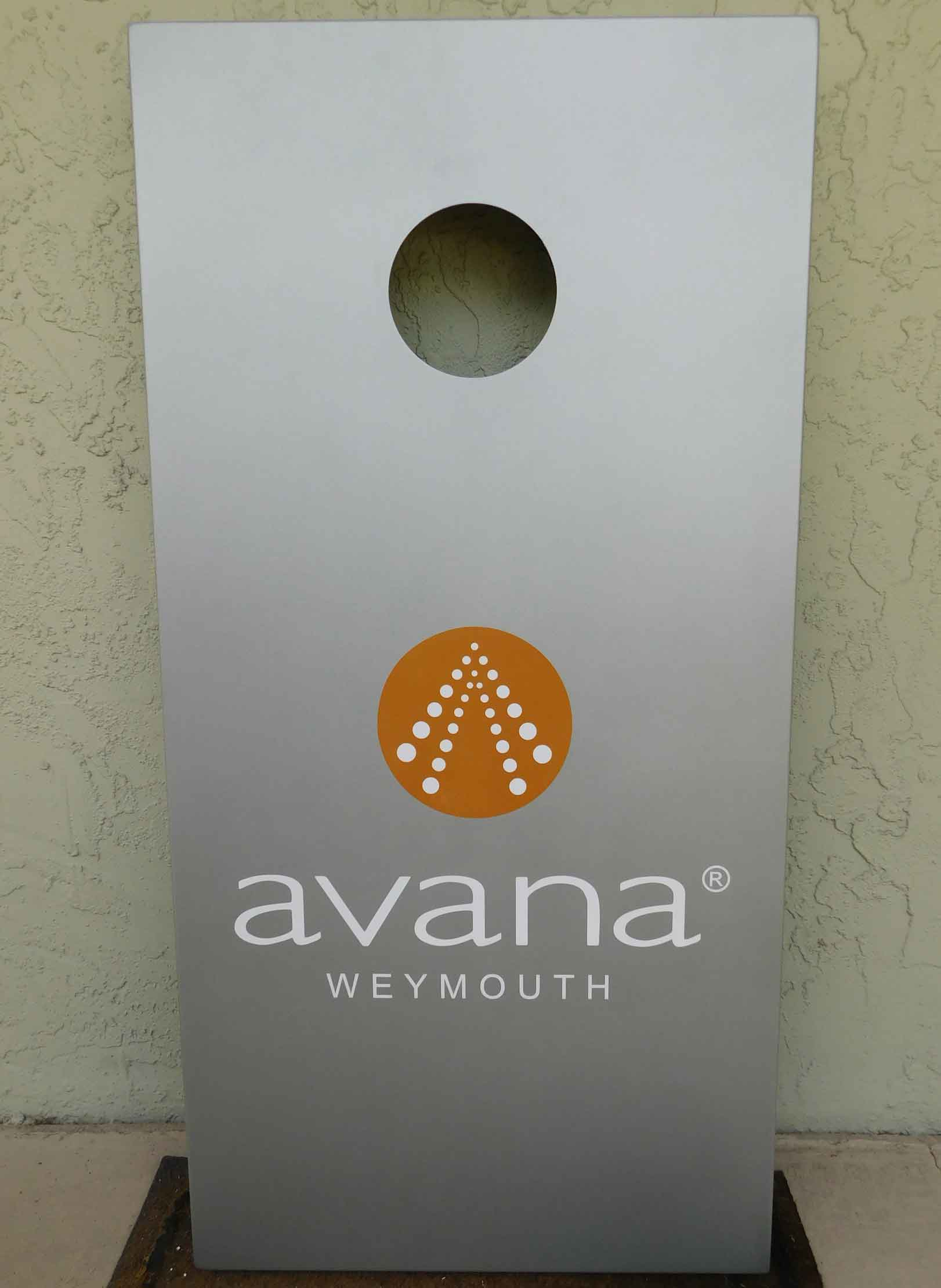 Avana® Weymouth custom cornhole set from R&R Outdoors All Weather Billiards