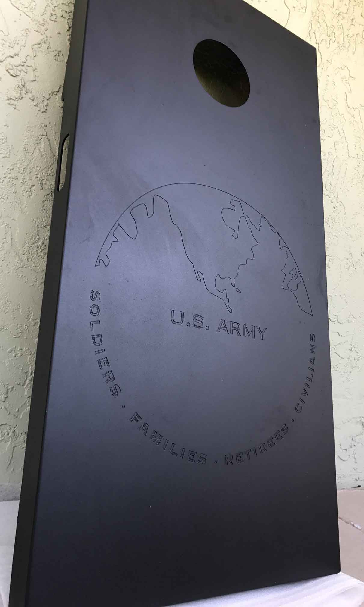 Engraved U.S. Army cornhole set from R&R Outdoors All Weather Billiards