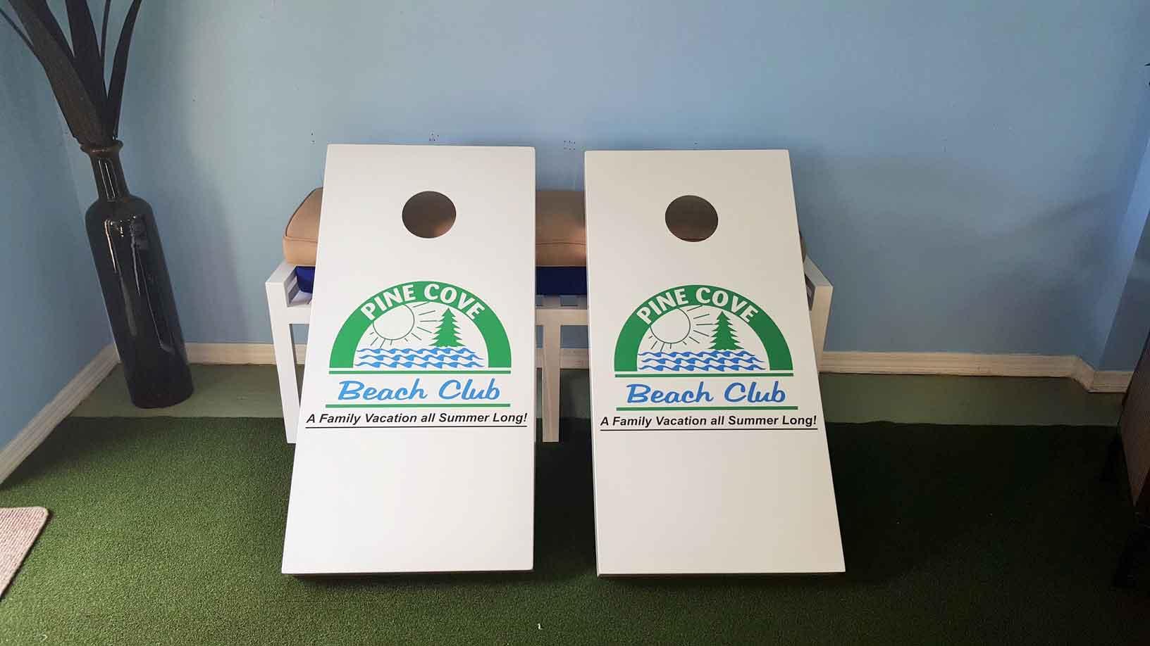 Pine Cove Beach Club custom outdoor corn hole set