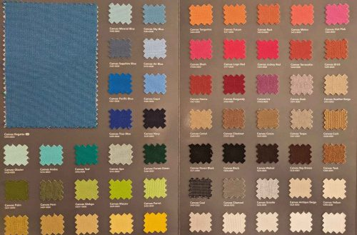 Genuine Sunbrella fabric choices available at R&R Outdoors All Weather Billiards