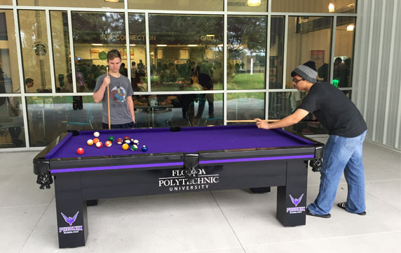 Florida Polytechnic Students with R&R Outdoors, Inc. All Weather Custom Outdoor Pool Table