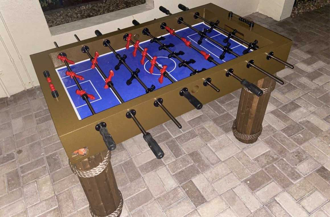 Caribbean Style Outdoor foosball game table in Southwest Florida by R&R Outdoors All Weather Billiards