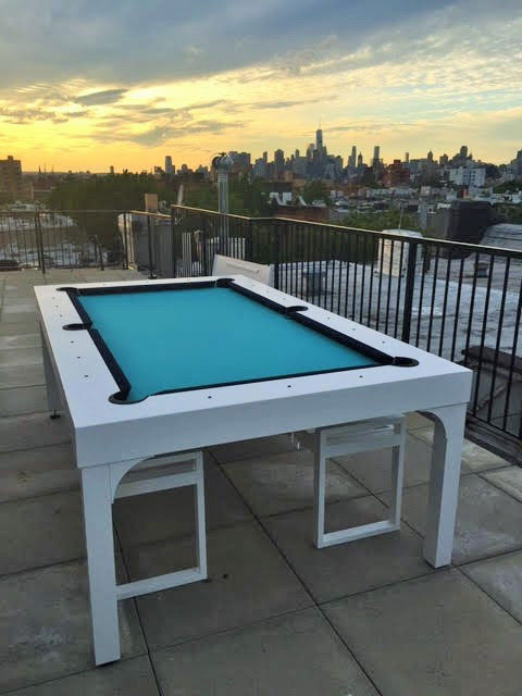 Balcony all weather, outdoor pool table on rooftop building