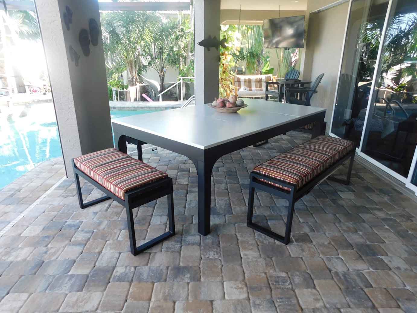 Balcony outdoor pool table with dining conversion top and all weather benches by R&R Outdoors All Weather Billiards