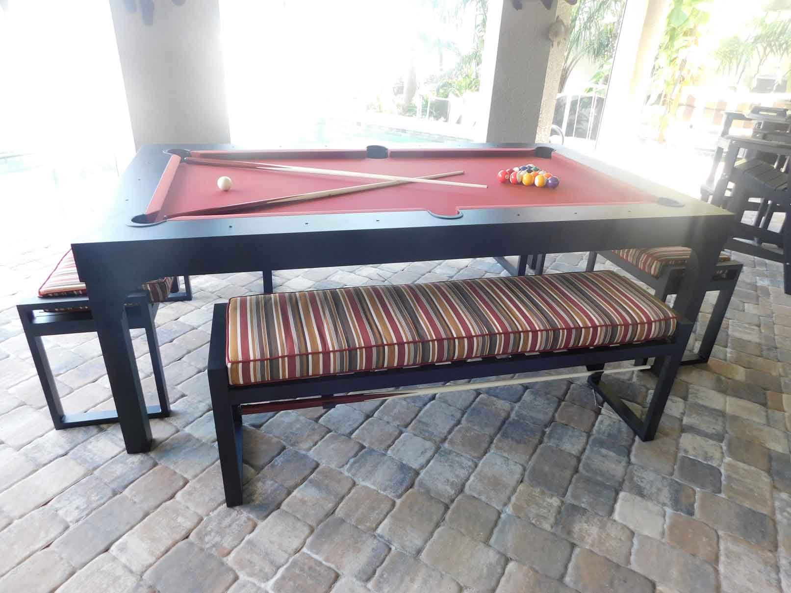 Balcony custom outdoor pool table with seating accessories for entertaining