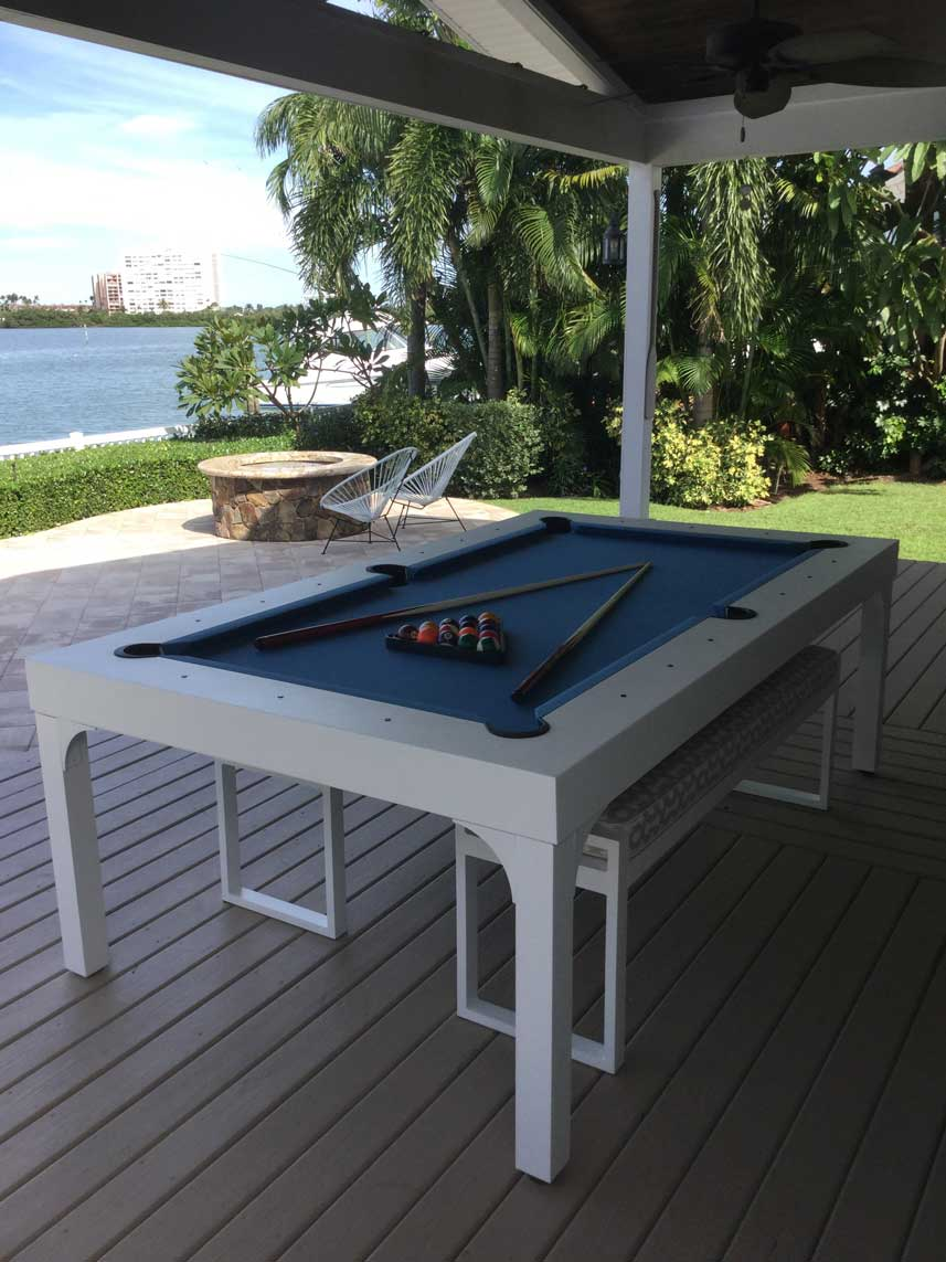 Blue and white Balcony custom outdoor pool table in client's waterfront gazebo in Southwest Florida