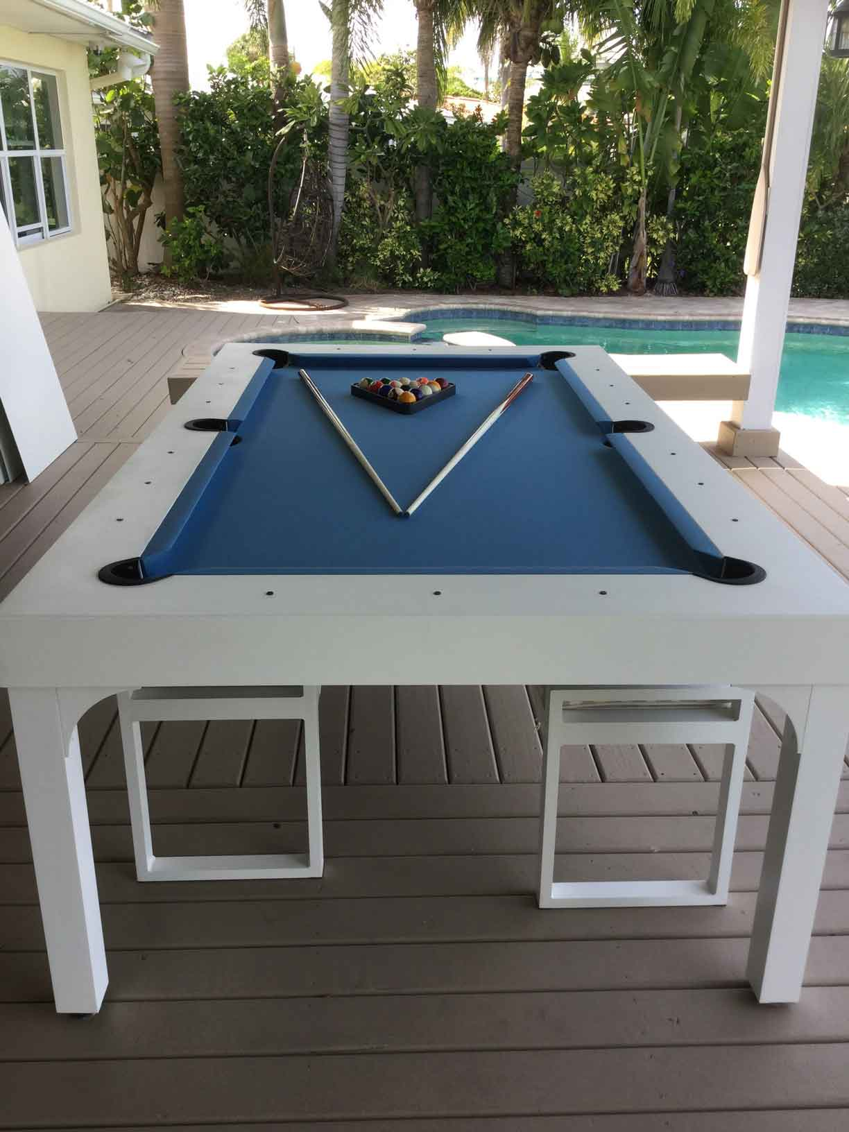 Balcony custom outdoor pool table by R&R Outdoors All Weather Billiards in Southwest Florida home