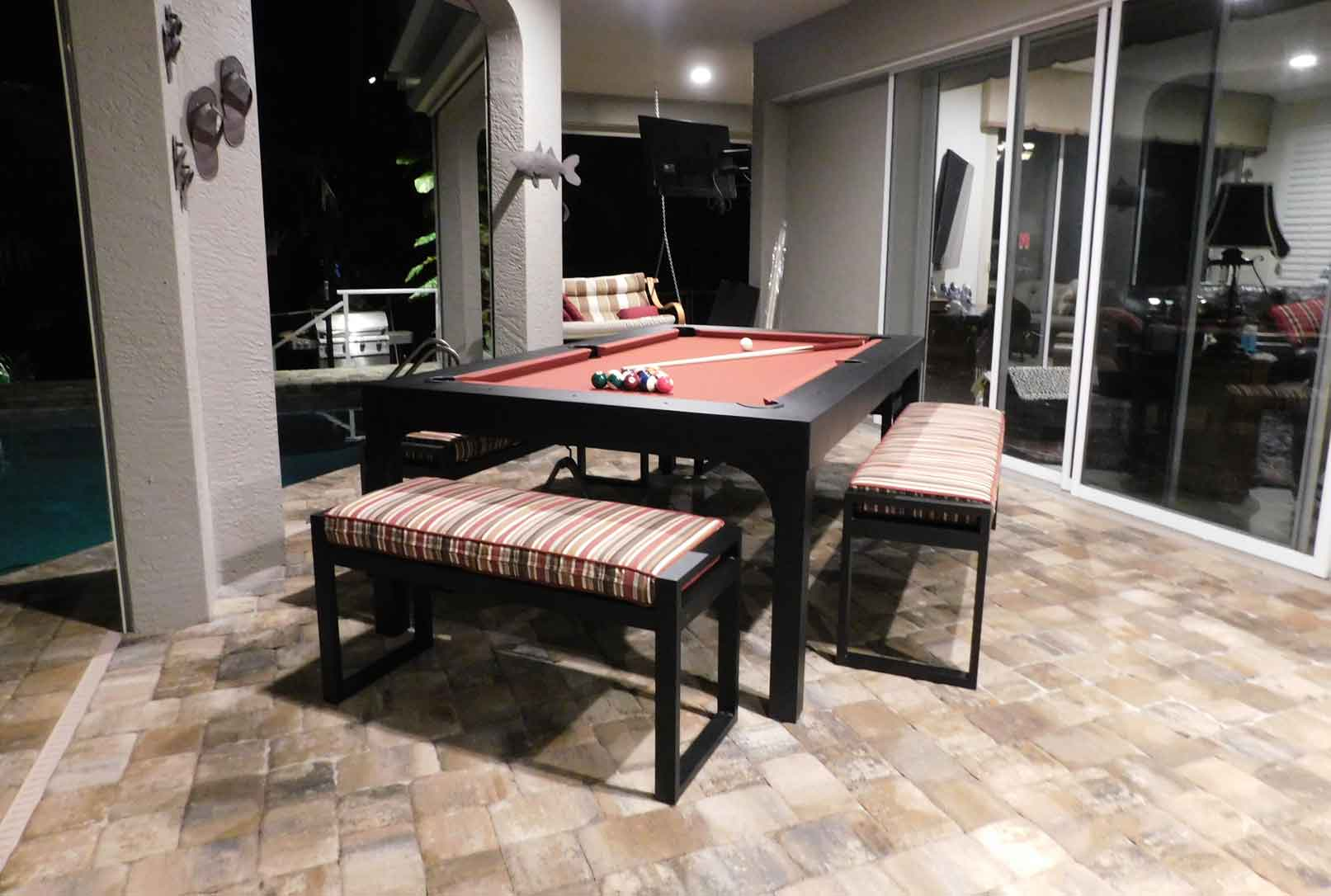 Balcony custom outdoor pool table with seating accessories