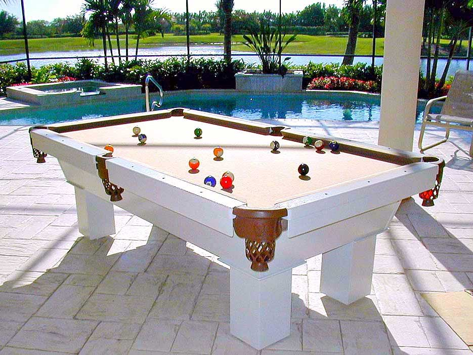 Brown and white Caesar custom outdoor pool table sis pool side in client's home in Southwest Florida