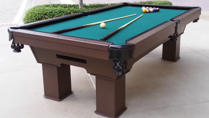 Caesar custom outdoor pool table at the Mercato in Naples, Florida