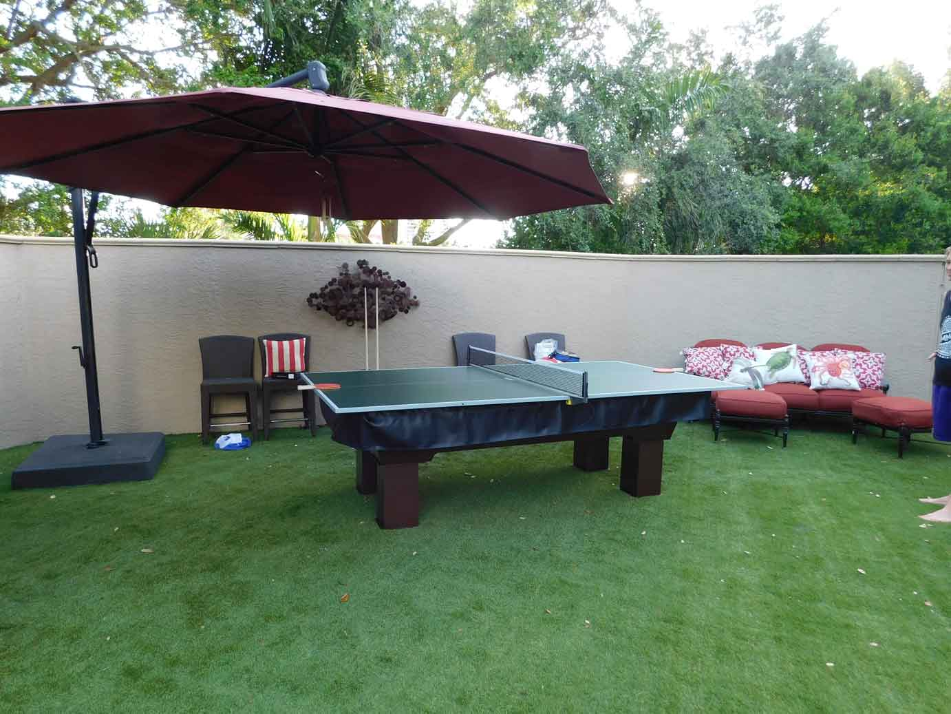 Caesar Outdoor Pool Table With Table Tennis Conversion Top And Black Custom Pool  Table Cover