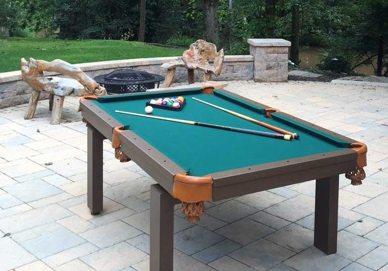 Oasis outdoor pool table in outdoor living space