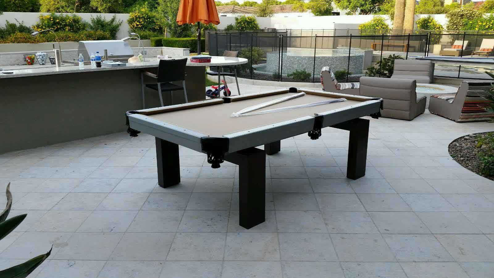 Oasis outdoor pool table in client's backyard