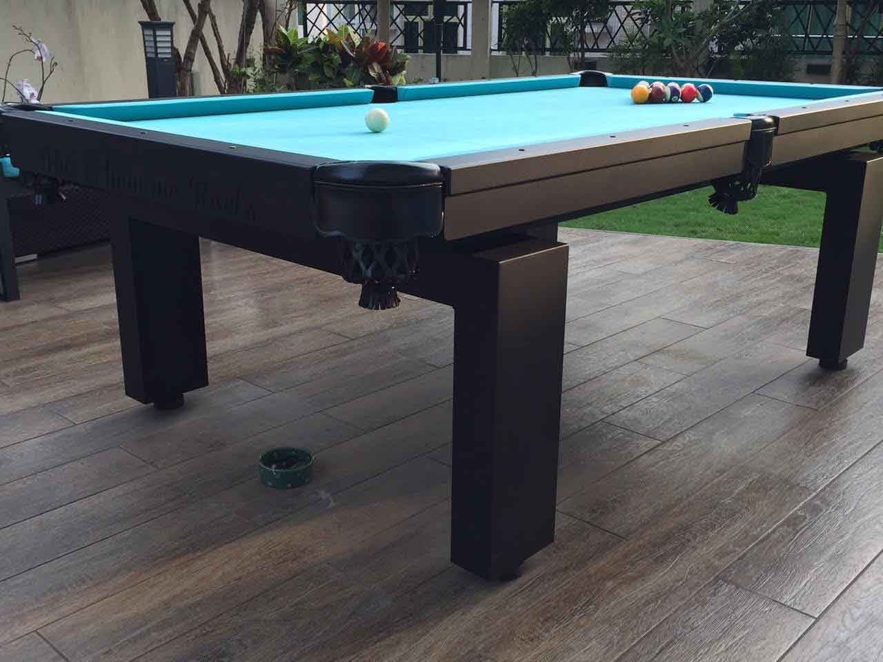 Close up of Oasis custom outdoor pool table legs