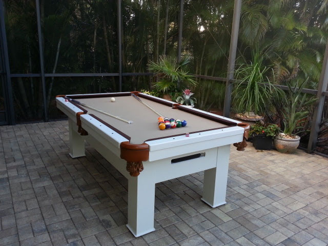 Orion custom all weather pool table in client's lanai