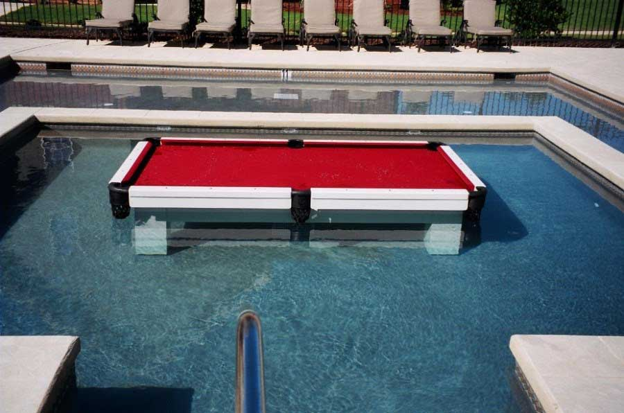 Orion all weather pool table in swimming pool